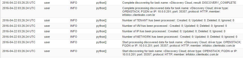 Solved: OpenStack vDiscovery doesn't returns information