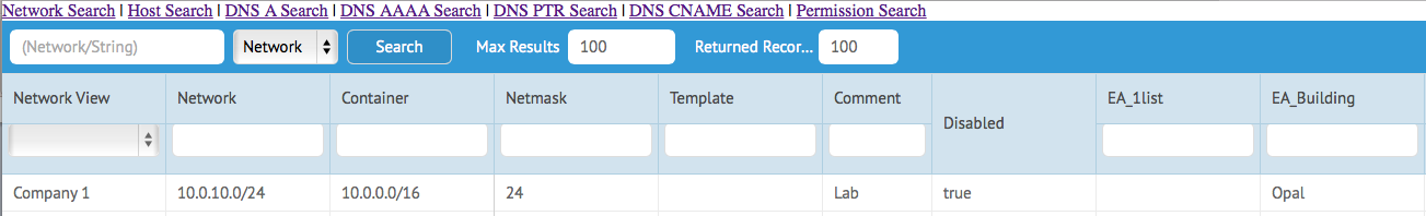 Javascript WAPI Example - A simple search utility - Infoblox Experts